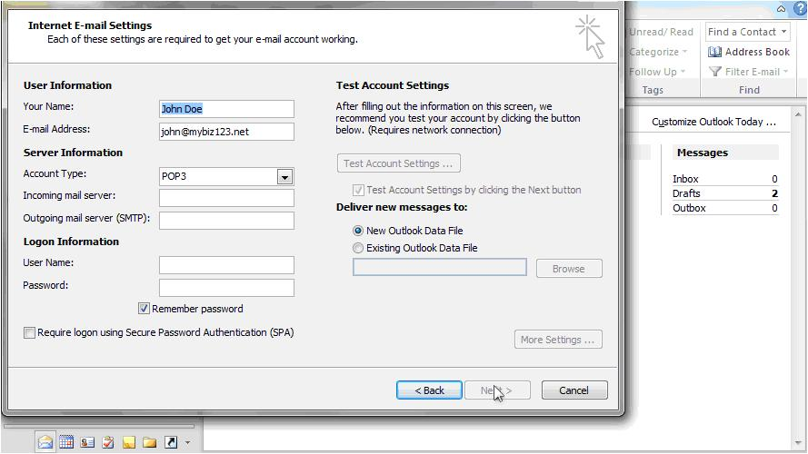 Outlook 2010 to access your business email step 8 continued
